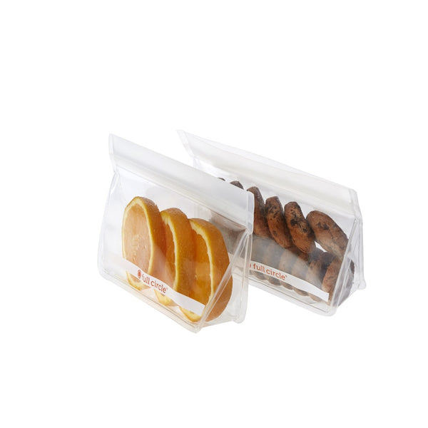 Full Circle Reusable Snack Bags 2 Piece Clear 400ml