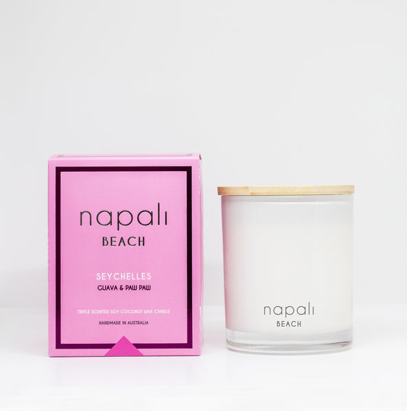 Napali Beach Seychelles, Guava & Paw Paw Candle - Small