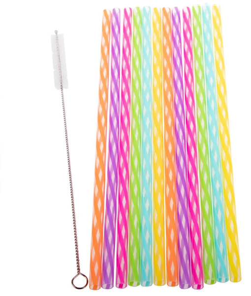 Appetito Reusable Rainbow Party Straws Pack of 24 - Including Brush