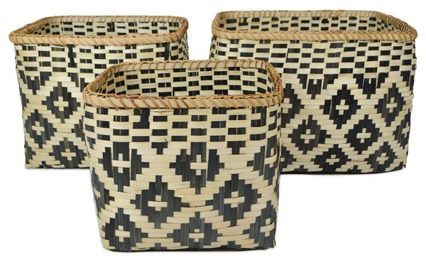 Rectangular Bamboo Woven Basket - Black/Natural - Small - 30x26cm