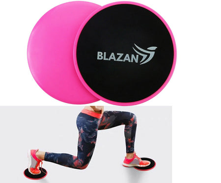 2 Set Core Sliders Gliding Discs Abs Exercise Gym Fitness Foam Circle Pad Pink Pair
