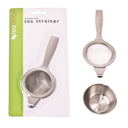 Teaology Long Handle Tea Strainer With Bowl Stainless Steel