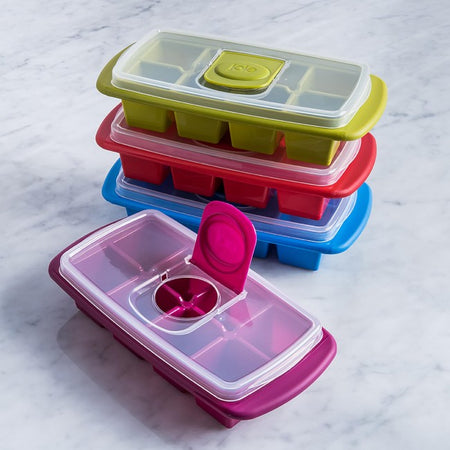 Joie Flip and Fill Ice Cube Tray with Lid X-Large Cubes - Assorted Colours