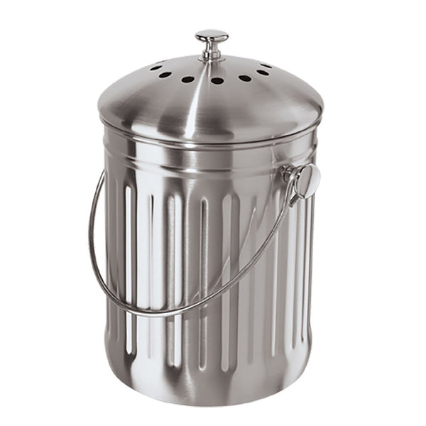 Oggi Stainless Steel Counter Top Compost Bin With Odor Filter 3.8L