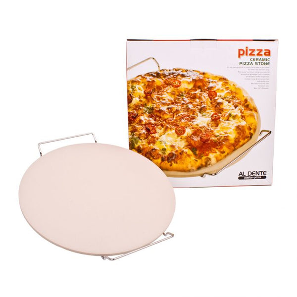 Al Dente Ceramic Pizza Stone With Rack 33cm