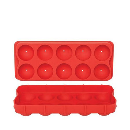 Appetito Silicone Round Ice Cube Tray - Red
