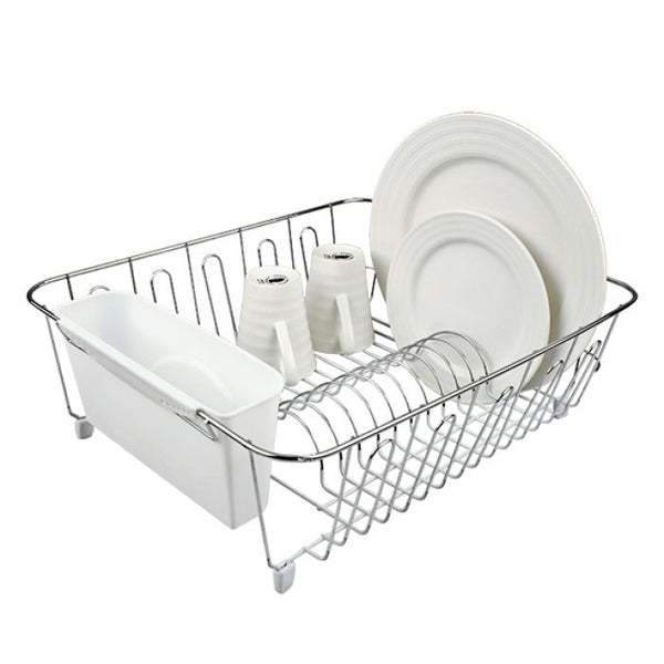 Dish Drainer With Caddy - Chrome/PVC - Small 36.5x32.3x14.3cm - White
