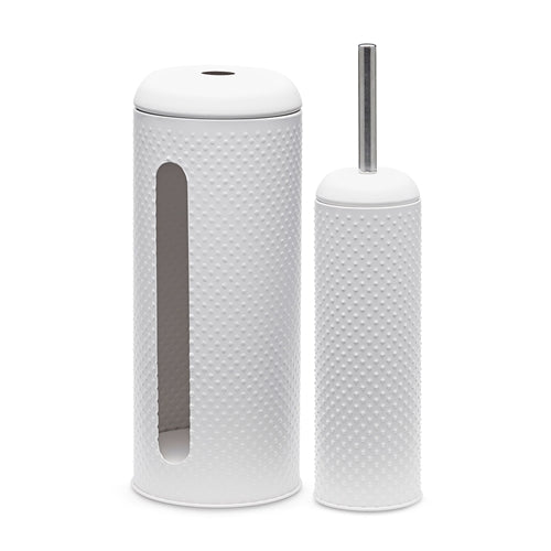 Salt & Pepper Spot White Toilet Brush & Roll Holder - Set of 2