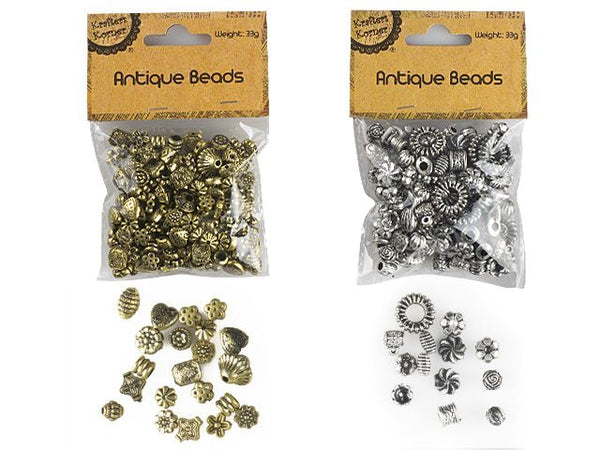 Antique Look Beads - 2 Assorted - Gold/Silver
