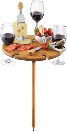 Salt & Pepper Picnic Wine Tray Circle With Cheese Knives 33.5cm