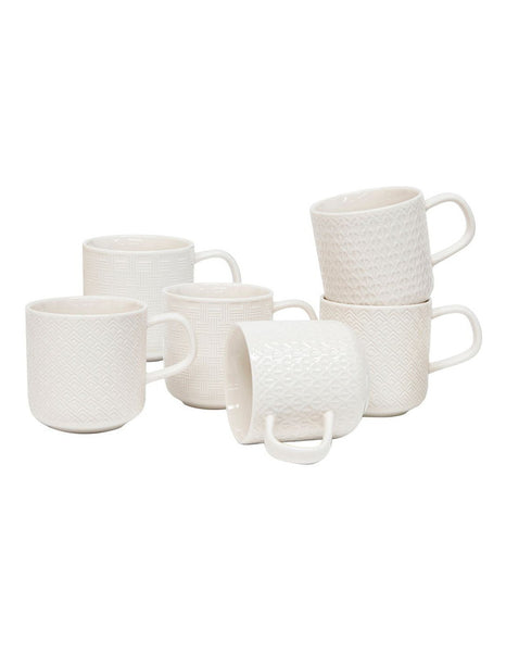 Salt & Pepper Embossed Mug Set 300ml - Set of 6