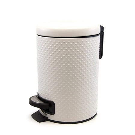 Salt & Pepper Spot White Pedal Push Bin 3Lt