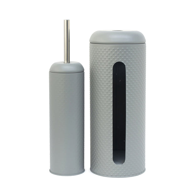 Salt & Pepper Spot Cloud Toilet Brush & Roll Holder - Set of 2