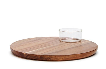 Salt & Pepper Provedore Round Serving Board With Glass Bowl 35cm