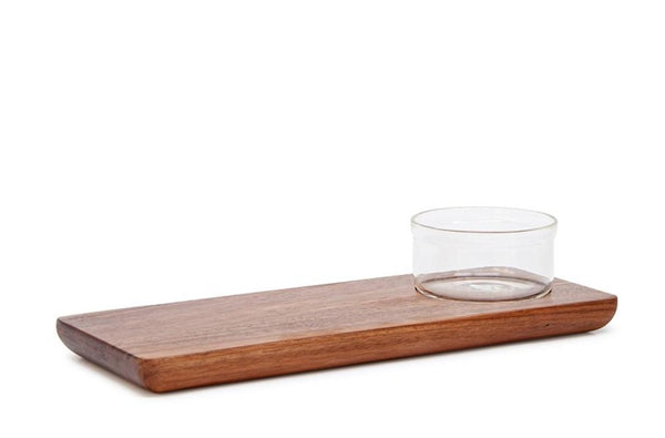 Salt & Pepper Provedore Rectangle Paddle Serving Board With Glass Bowl 35x14cm