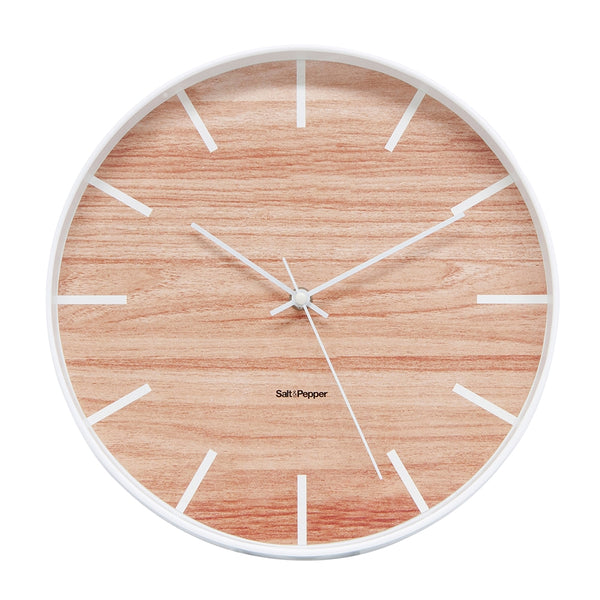 Salt & Pepper Tate Clock White 31cm