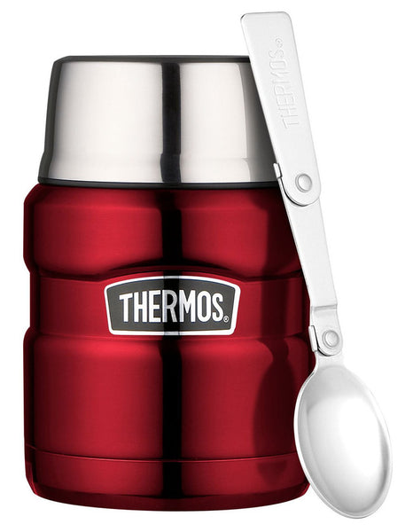 Thermos 470ml Stainless Steel Vacuum Flask/Jar with Spoon - Red