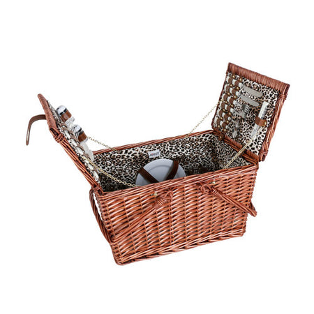 Avanti 4 Person Handle Picnic Basket - Leopard