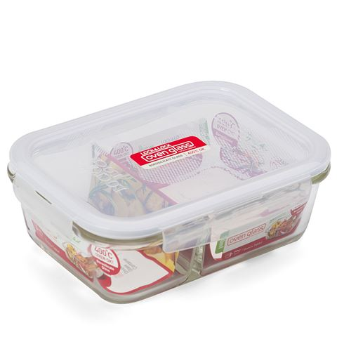 Lock & Lock Euro Glass Boroseal Heat Resistant Glass Rectangular Container With Divider - 950ml