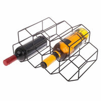 Bartender Hexagonal Wine Rack 9 Bottle 36.5x16cm - Black