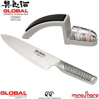 Global 2 Piece Starter Set - 20cm Cooks Knife & Minosharp 2 Stage Sharpener
