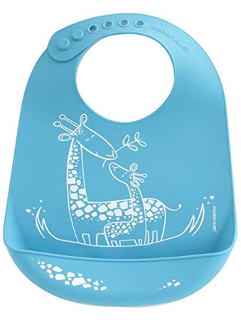 Mini Twist Bucket Bib - Giraffe Giggles Blue