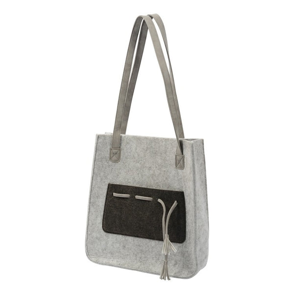 Mason Light Grey Felt Tote Bag with Pocket