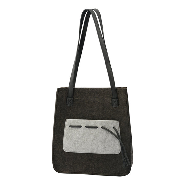Mason Dark Grey Felt Tote Bag with Pocket