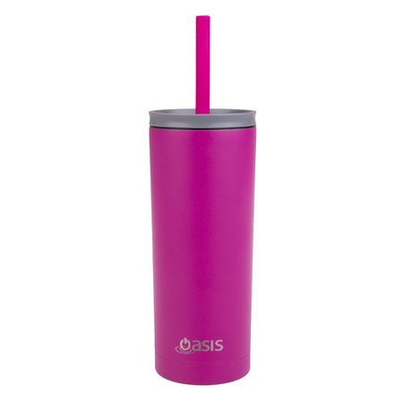 Oasis Super Sipper Insulated Tumbler With Silicone Straw 600ml - Fuchsia - Stainless Steel