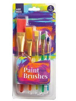 Medium Artist Paint Brushes - Set of 5 - Assorted Sizes and Colours