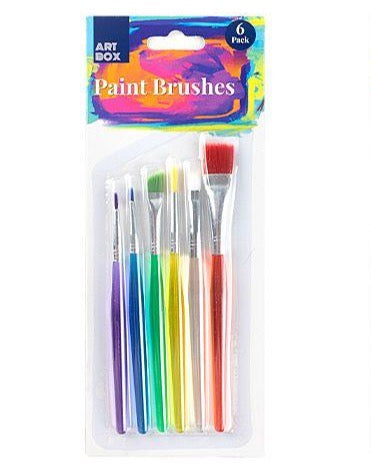 Small Artist Paint Brushes - Set of 6 - Assorted Sizes and Colours