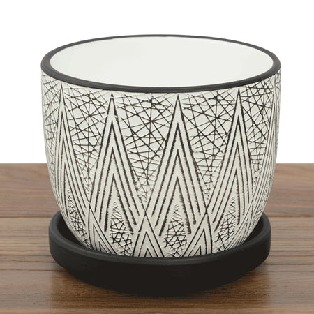Rico Pots with Saucer Black/White Designs 12x10cm - 3 Assorted