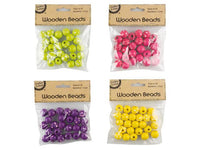 Polka Dot Wooden Beads - Pack of 25 - 4 Assorted Colours - Green/Pink/Purple/Yellow