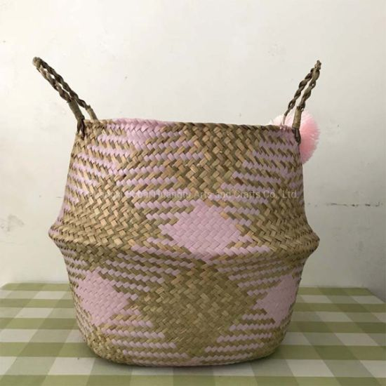 Belly Basket With Handles - Pink/Natural - Large - 35x33cm