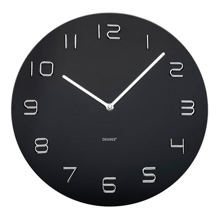 Degree Black Glass Chrome Number Wall Clock 35cm