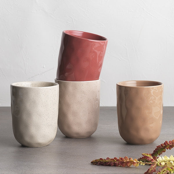 Ecology Speckle Cuddle Stoneware Mugs Set of 4 - 250ml - Rose, Flax, Cheesecake, Oatmeal