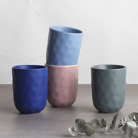 Ecology Speckle Cuddle Stoneware Mugs Set of 4 - 250ml - Lilac, Cornflower, Cobalt, Spruce