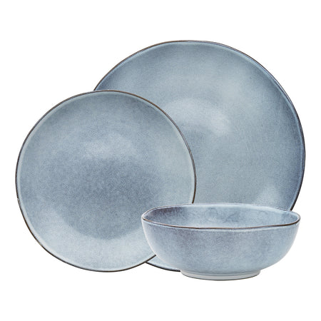 Ecology Rustic Stoneware Dinner Set 12pc - Denim