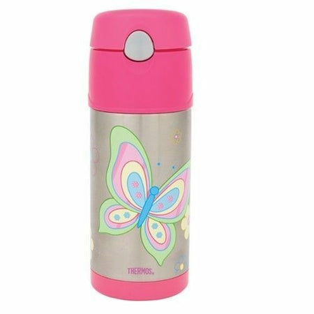 355ml Funtainer Drink Bottle - Butterfly - Pink