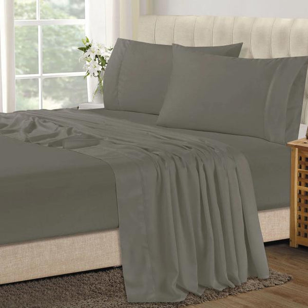 Bamboo Combo Set - Double Fitted Sheet and Two Pillowcases - Graphite