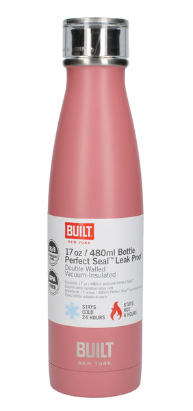 Built Perfect Seal Double Wall Vacuum Insulated Bottle 480ml - Pink