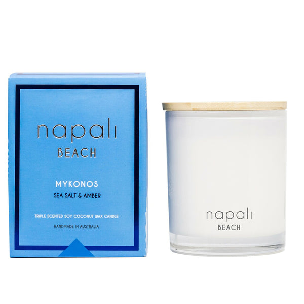 Napali Beach Mykonos, Sea Salt & Amber Candle - Deluxe