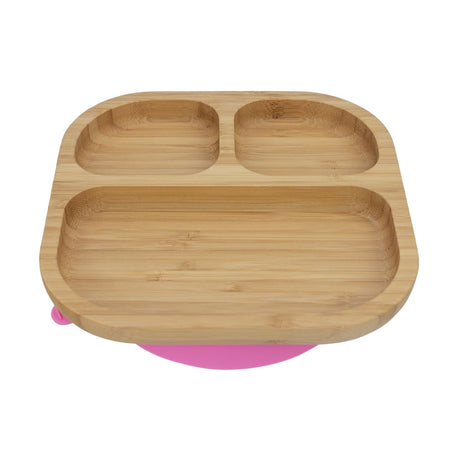 Tiny Dining Kids Bamboo Segmented Plate With Suction 18x18cm - Pink Suction