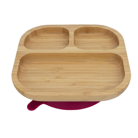 Tiny Dining Kids Bamboo Segmented Plate With Suction 18x18cm - Red Suction