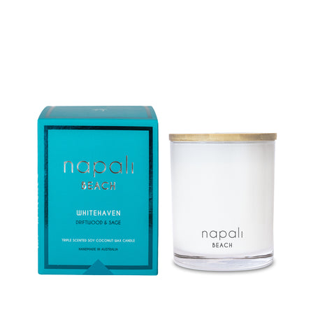 Napali Beach Whitehaven, Driftwood & Sage Candle - Deluxe