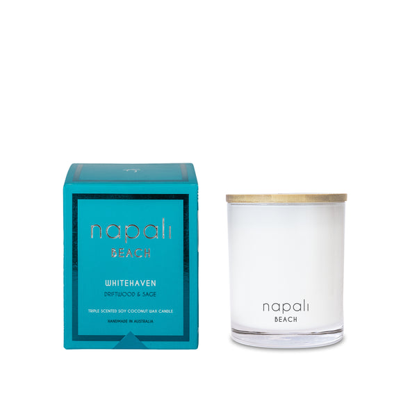 Napali Beach Whitehaven, Driftwood & Sage Candle - Small