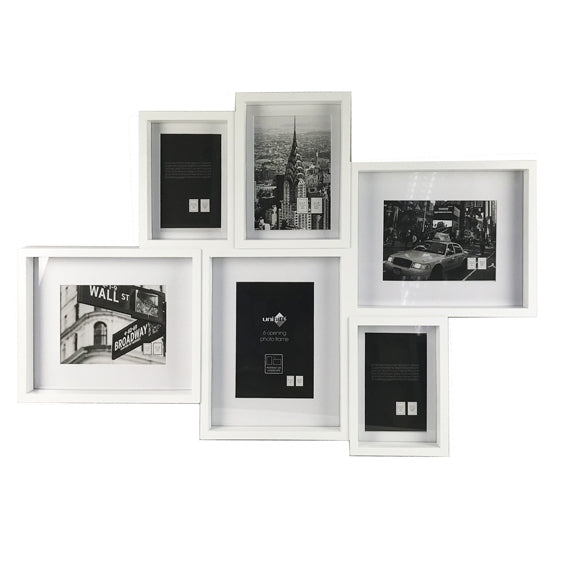 6 Photo Retro White Collage Frame