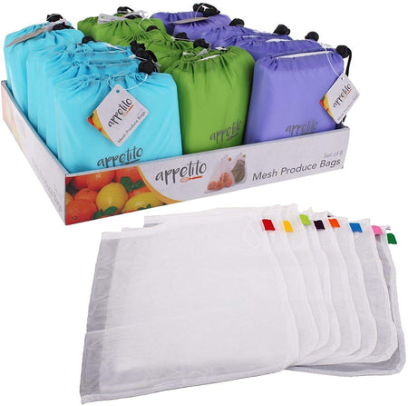Appetito Mesh Produce Bags - Set of 8