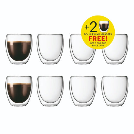 Bodum Pavina Double Wall Coffee Glasses - Buy 6 Get 8 - 0.25L/8oz