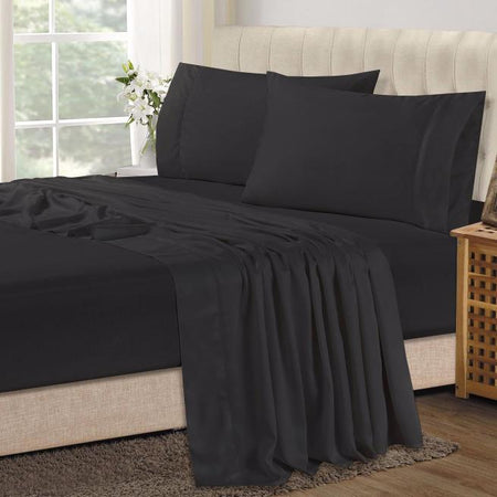 Bamboo Combo Set - King Single Fitted Sheet and One Pillowcase - Black